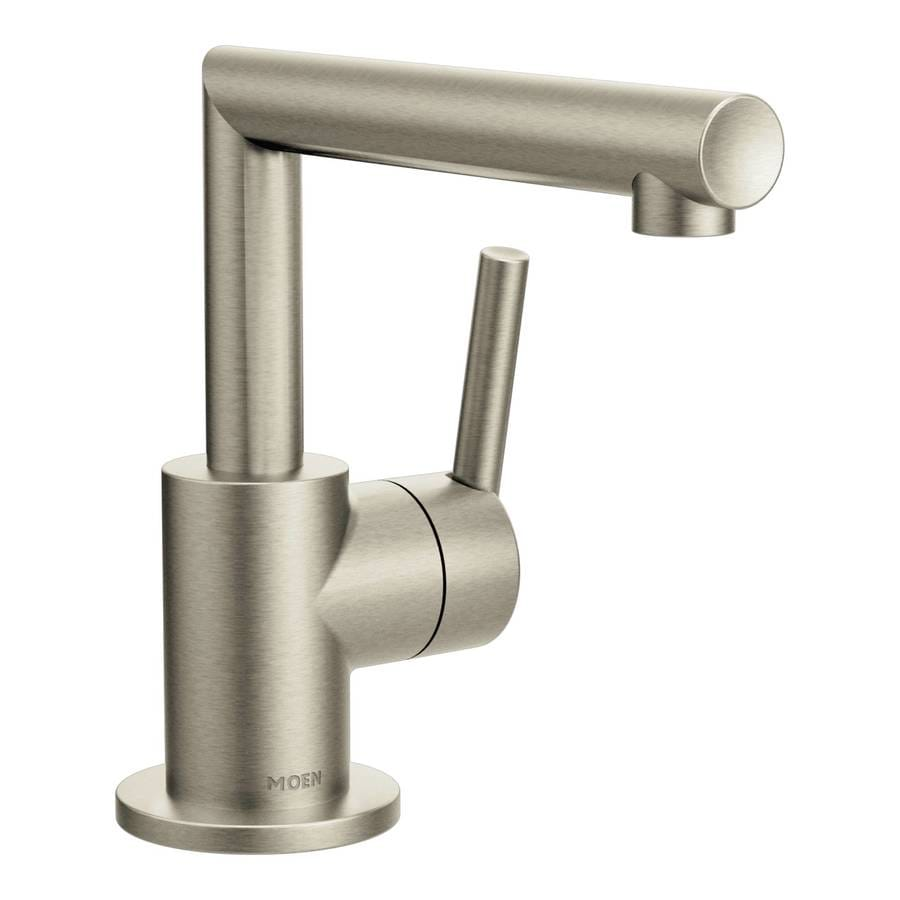 Moen arris brushed nickel 1 handle single hole watersense - Single hole bathroom faucets brushed nickel ...