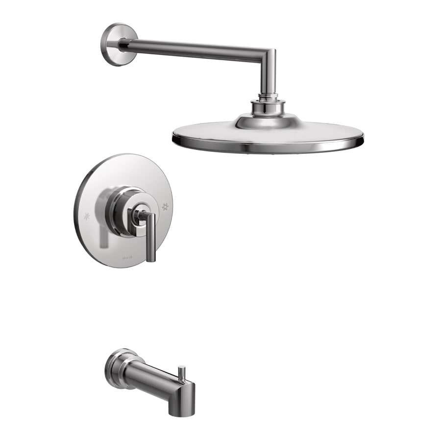 Moen Arris Chrome 1-Handle Bathtub and Shower Faucet with Rain Showerhead