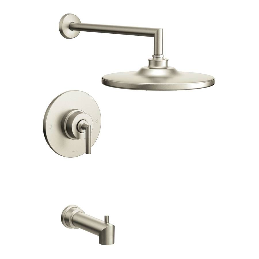 Moen Arris Brushed Nickel 1-Handle Bathtub and Shower Faucet with Rain Showerhead