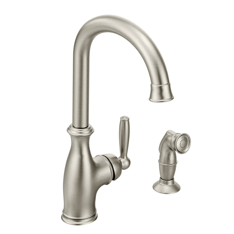 Moen Brantford Spot Resist Stainless 1-Handle High-Arc Kitchen Faucet with Side Spray