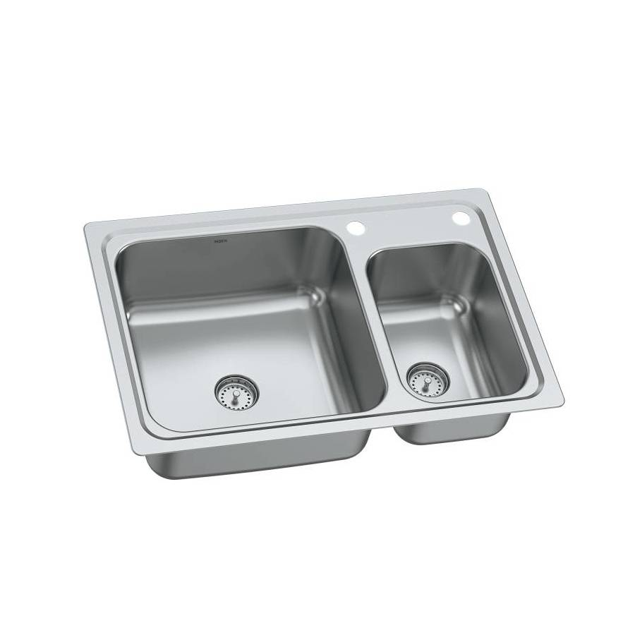 Moen Gibson 19 Gauge Double Basin Drop In Or Undermount Stainless Steel  Kitchen
