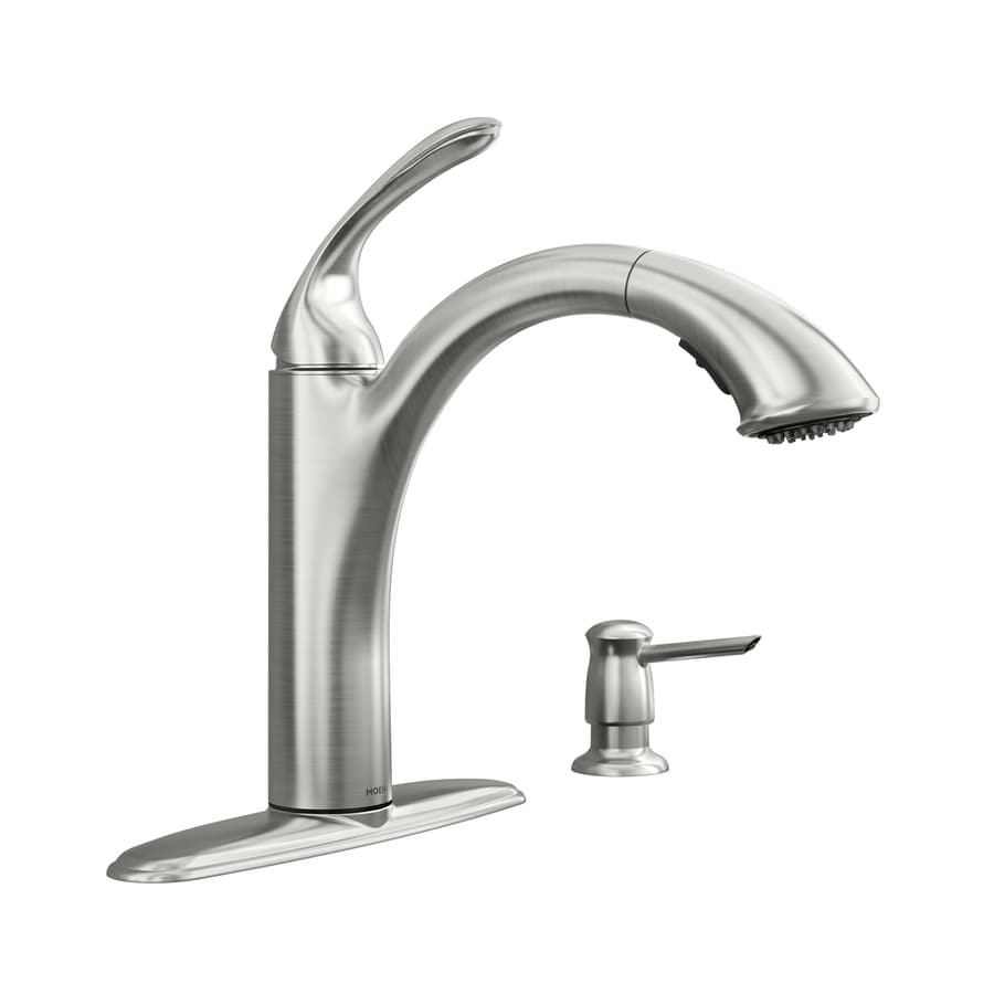 shop kitchen faucets at lowes com moen kinzel spot resist stainless 1 handle pull out kitchen faucet