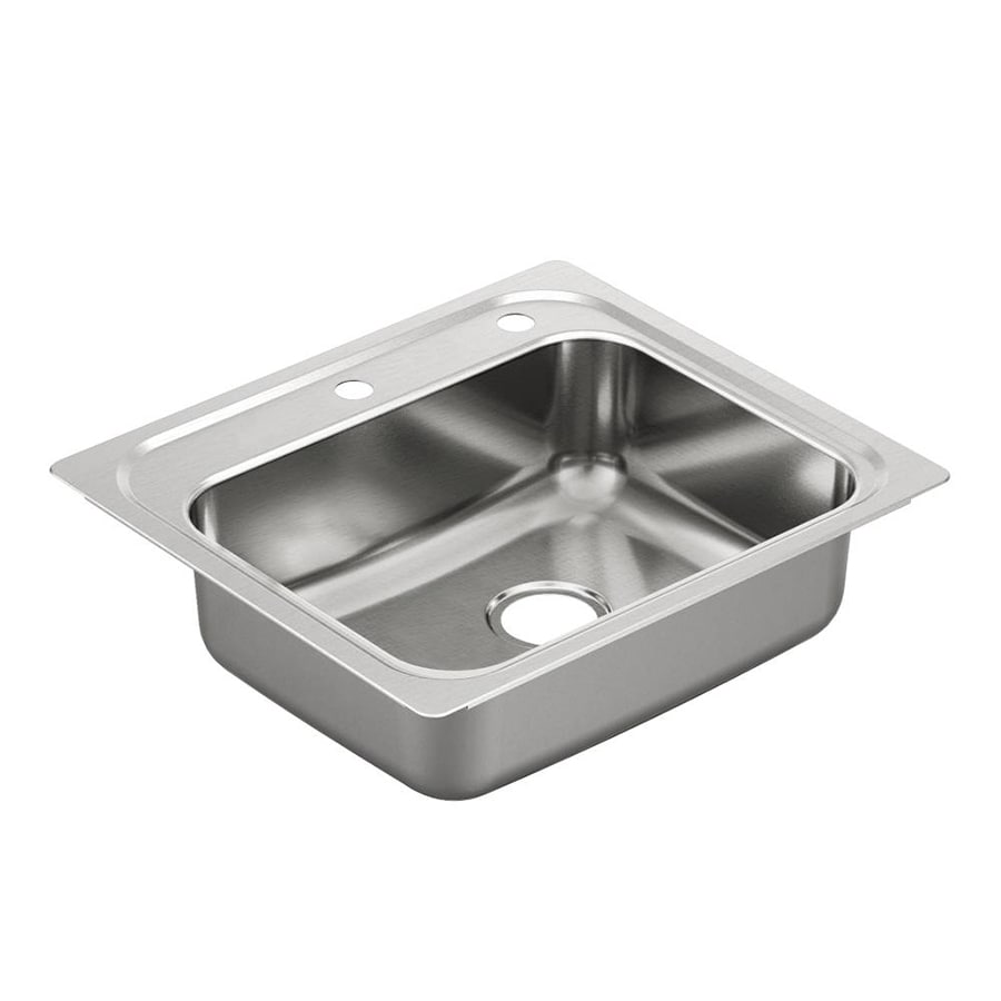 Moen 2000 Series 22-in x 25-in Stainless Steel Single-Basin-Basin Stainless Steel Drop-in 2-Hole Residential Kitchen Sink