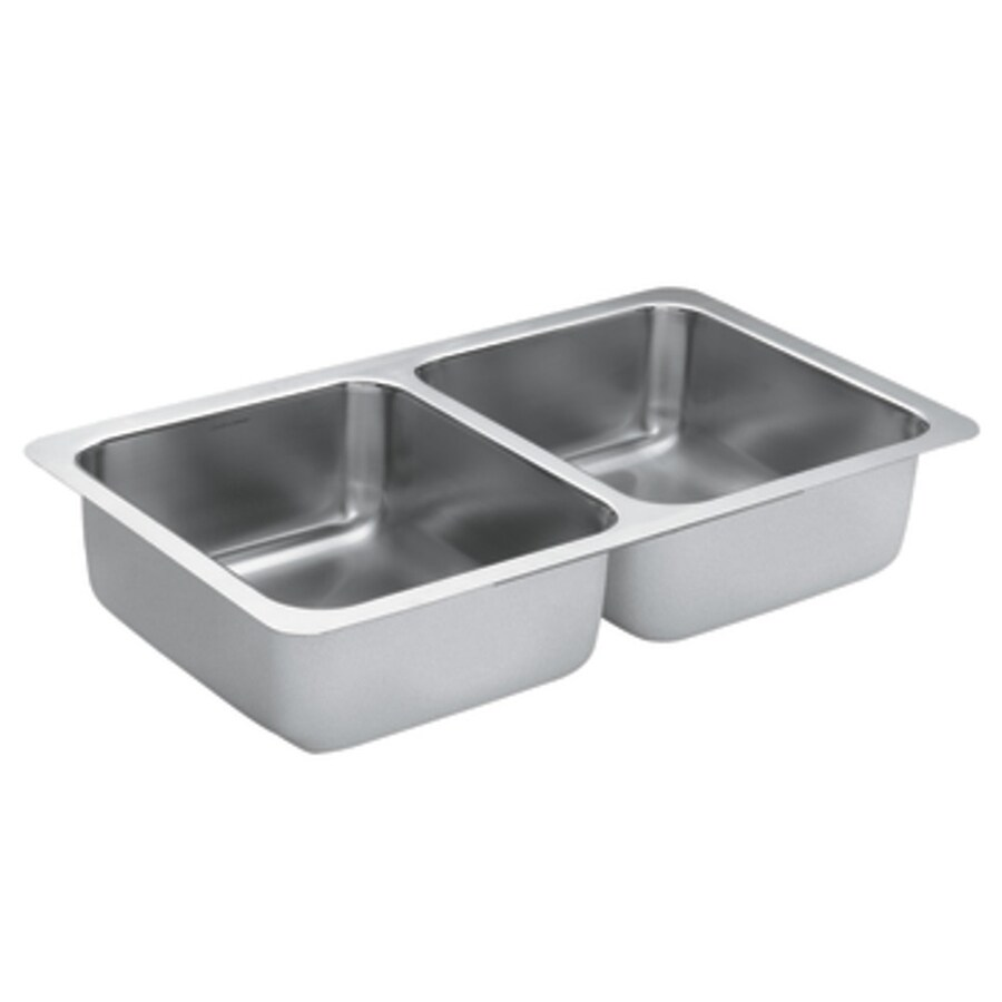 Moen 1800 Series 18-in x 31.25-in Stainless Steel Double-Basin Undermount Residential Kitchen Sink