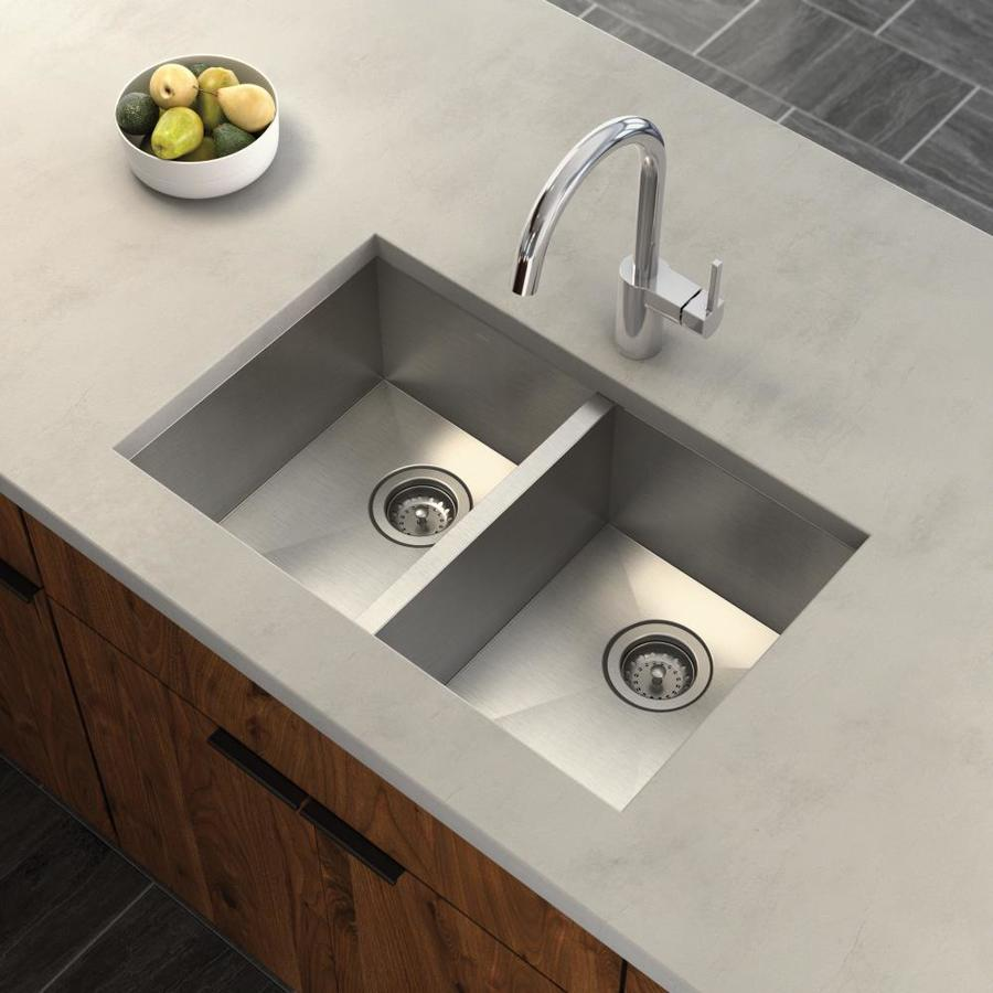 Moen 1800 Series 18.5-in x 29.25-in Stainless Double-Basin Stainless Steel Undermount Residential Kitchen Sink