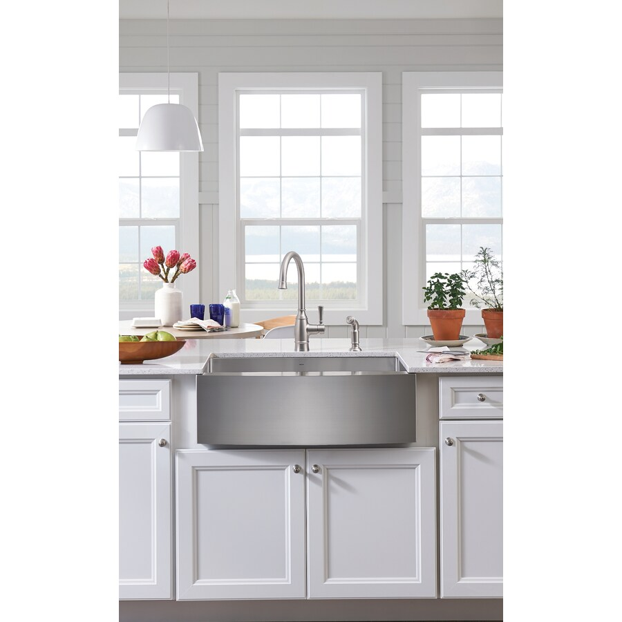 Moen 1800 Series 21-in x 30-in Single-Basin Stainless Steel Undermount Commercial Kitchen Sink