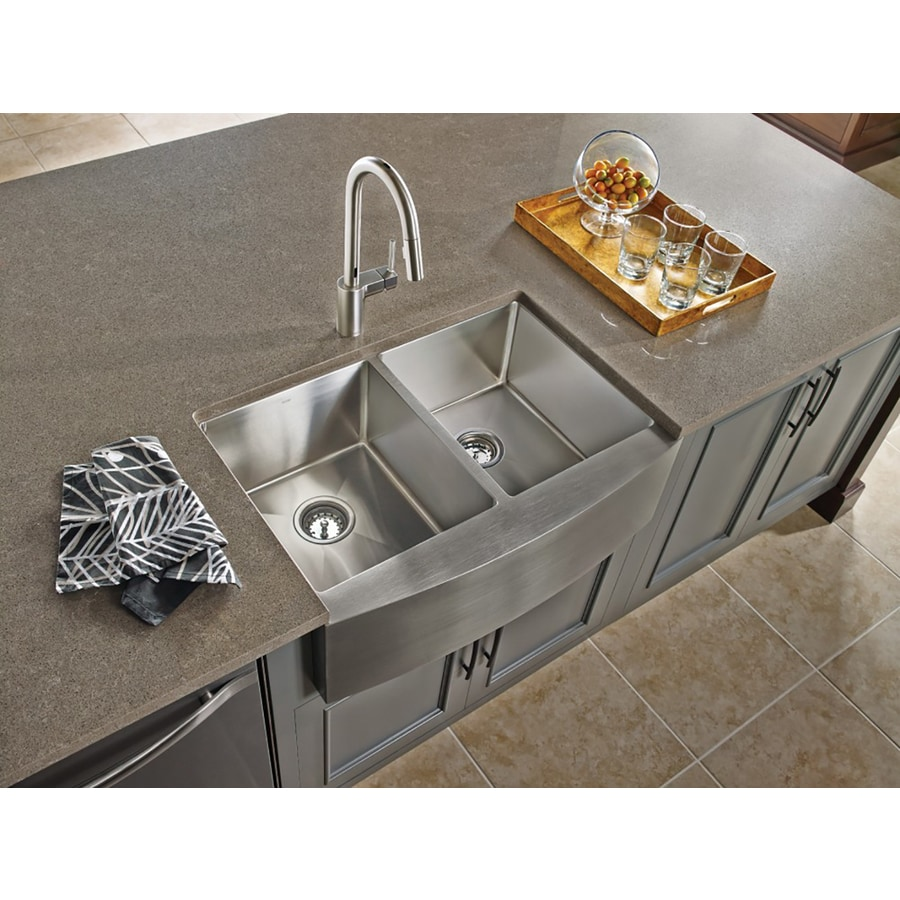 Moen 1800 Series 21-in x 30-in Stainless Double-Basin Undermount Residential Kitchen Sink