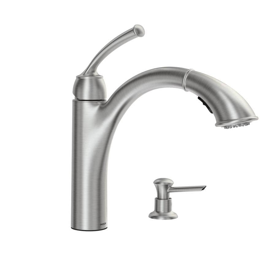 Moen Pull Out Kitchen Faucets Shop Moen Sullivan Spot Resist Stainless 1 Handle Pull Out Kitchen