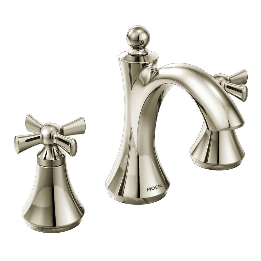 Shop moen wynford polished nickel 2 handle widespread for Chrome or brushed nickel kitchen faucet
