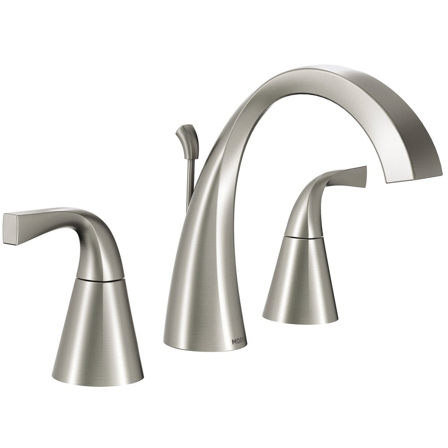 Shop moen oxby spot resist brushed nickel 2 handle for Bathroom faucets lowes