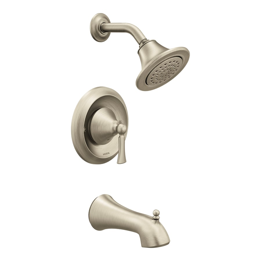 Moen Wynford Brushed Nickel 1-Handle Bathtub and Shower Faucet with Single Function Showerhead
