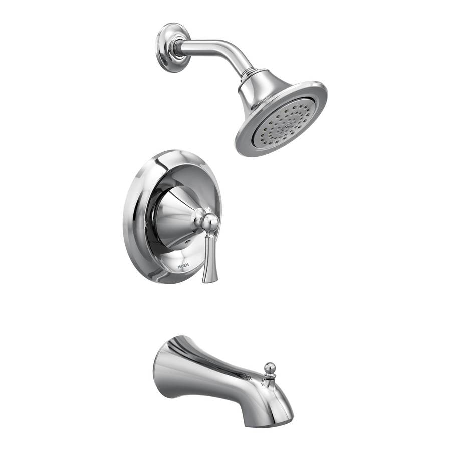 Moen Wynford Chrome 1-Handle WaterSense Bathtub and Shower Faucet Trim Kit with Single Function Showerhead