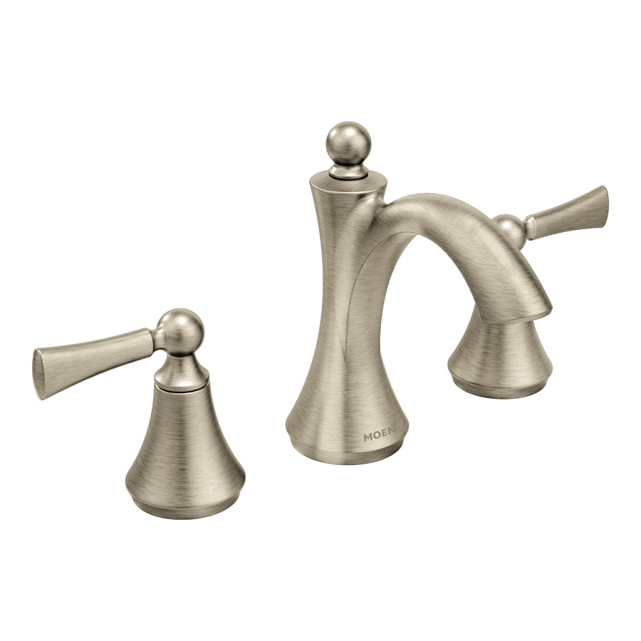 Moen Wynford Brushed Nickel 2-Handle Widespread WaterSense Bathroom Faucet (Drain Included)