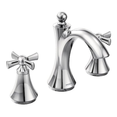 Wynford Chrome 2 Handle Widespread Watersense Bathroom Sink Faucet With Drain