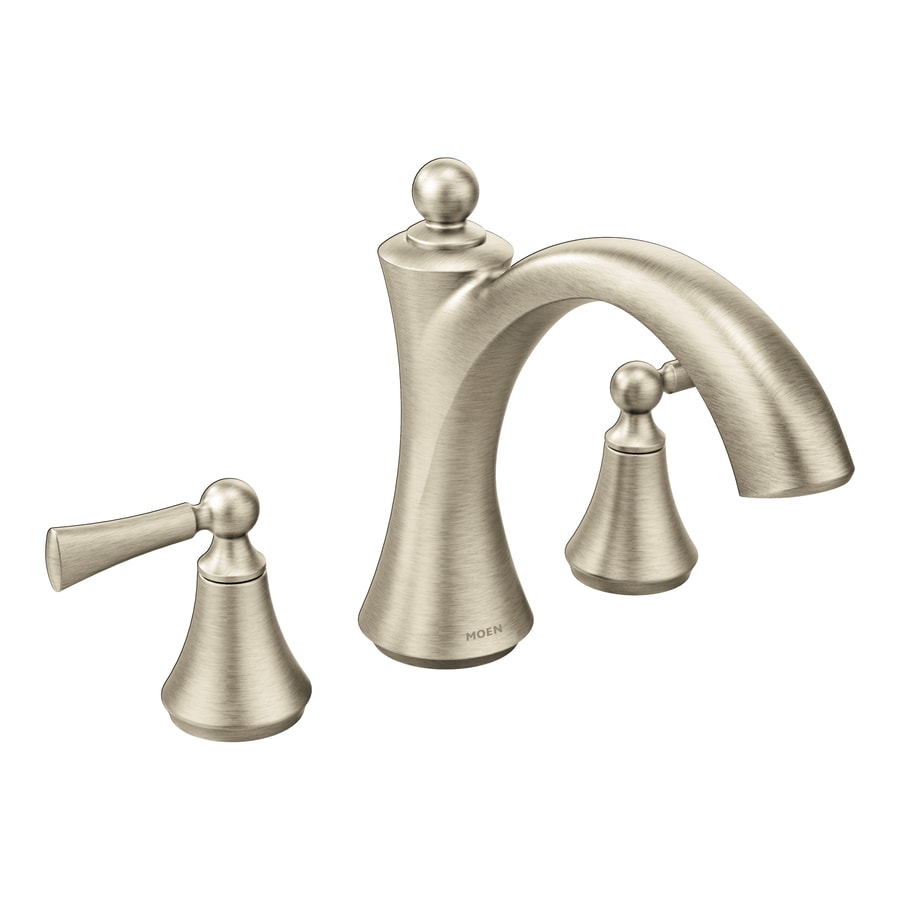 Shop Moen Wynford Brushed Nickel 2 Handle Deck Mount Bathtub Faucet At