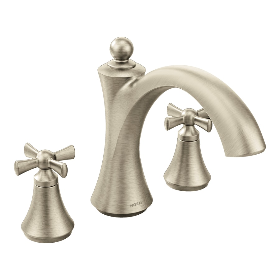 Moen Wynford Brushed Nickel 2-Handle Deck Mount Bathtub Faucet
