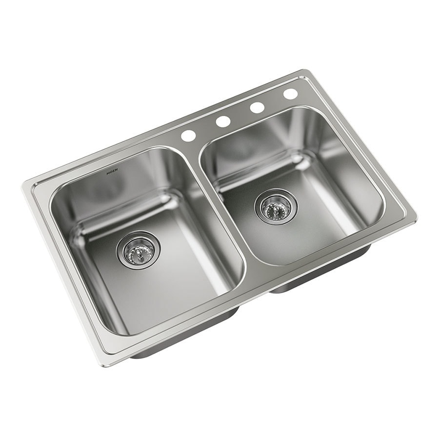 Lowes Kitchen Sink: Shop Moen Shenton 22-in X 33-in Double-Basin Stainless