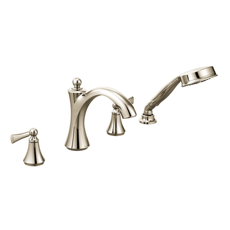 Moen Wynford Polished Nickel 2-Handle Fixed Deck Mount Bathtub Faucet