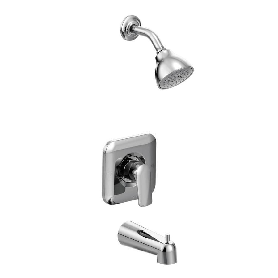 Moen Rizon Chrome 1-Handle Bathtub and Shower Faucet Trim Kit with Single Function Showerhead