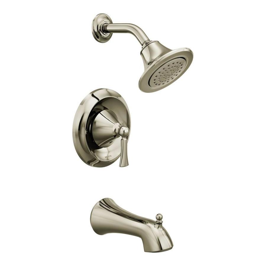 Moen Wynford Polished Nickel 1-Handle Bathtub and Shower Faucet Trim Kit with Single Function Showerhead