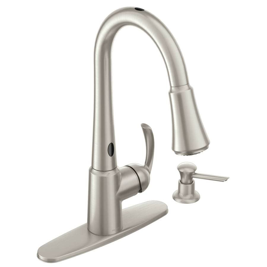 shop kitchen faucets at lowes com moen delaney with motionsense spot resist stainless 1 handle pull down touchless kitchen faucet