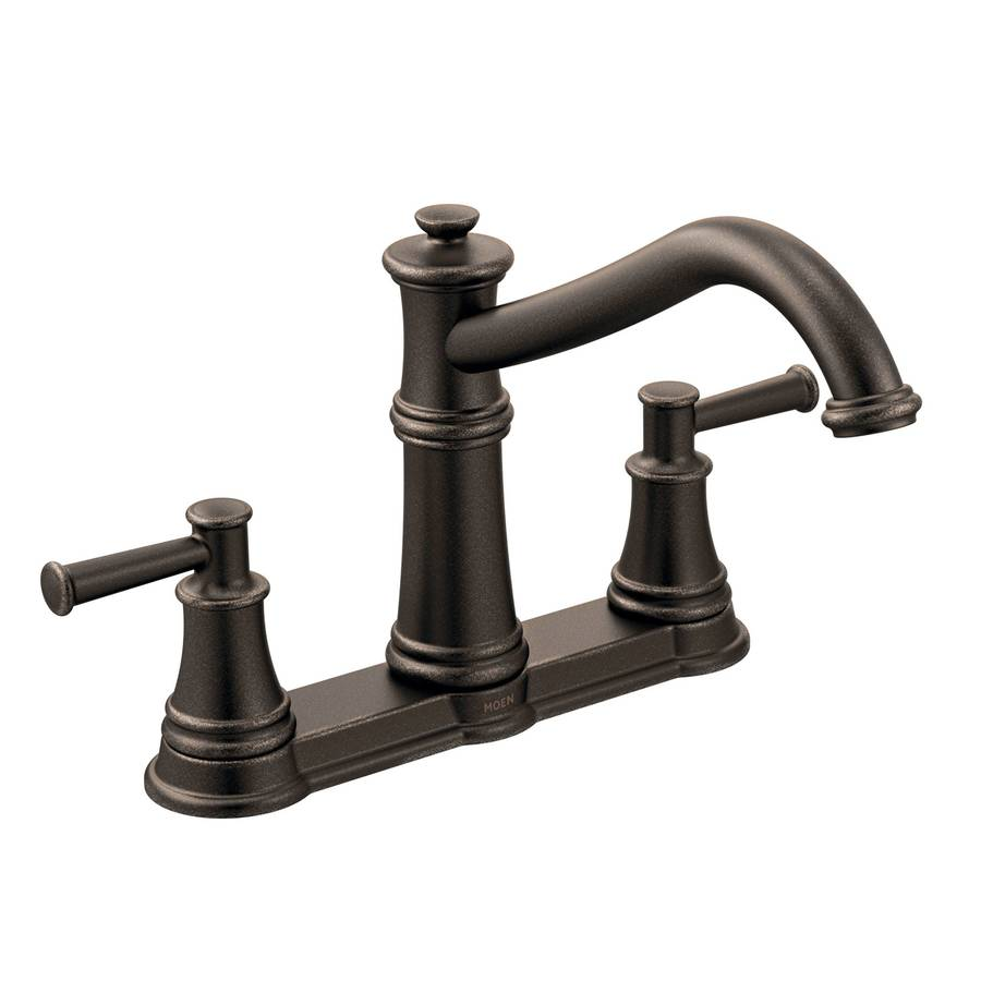 Shop Moen Belfield Oil Rubbed Bronze 2-Handle Deck Mount Low-arc ...