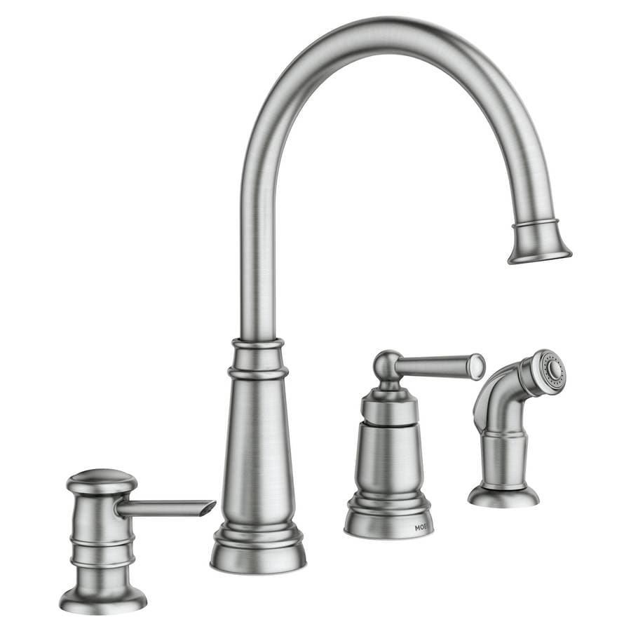 Shop Moen Edison Spot Resist Stainless 1 Handle Deck Mount High Arc Kitchen Faucet At Lowes Com