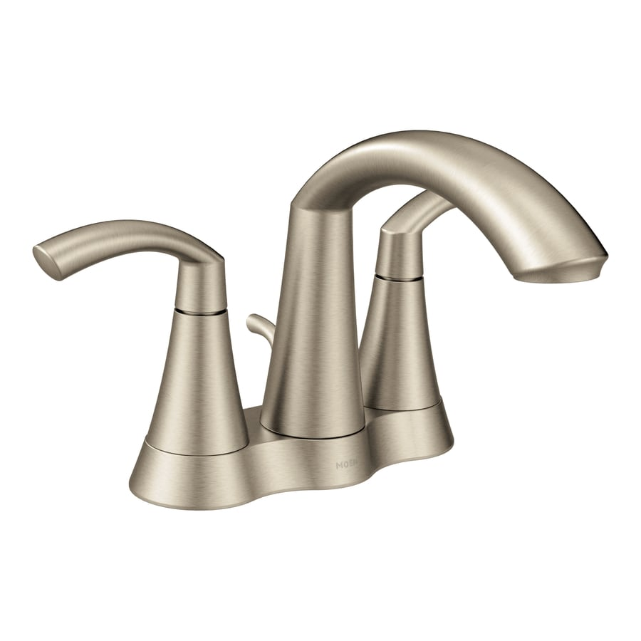 moen kitchen faucet brushed nickel moen glyde brushed nickel 2 handle 4 in centerset bathroom sink faucet with drain at lowes com 8752