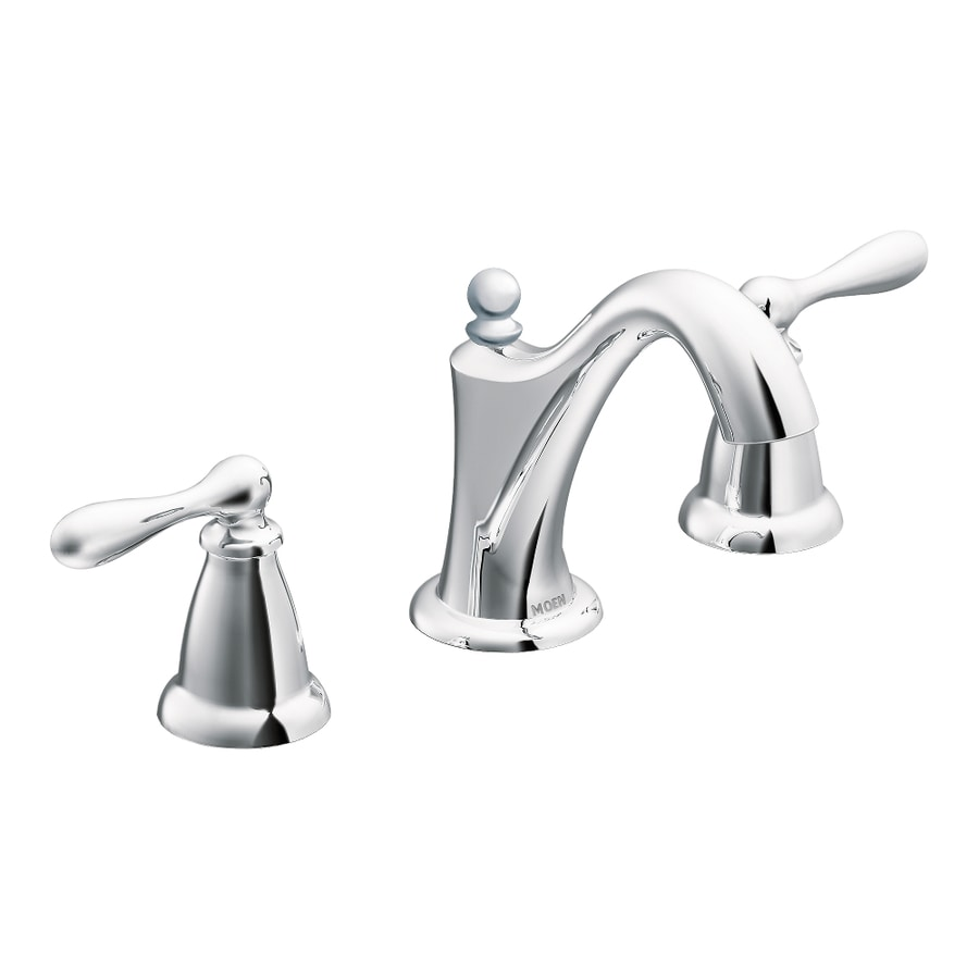 Shop moen caldwell chrome 2 handle widespread watersense for Bathroom faucets lowes