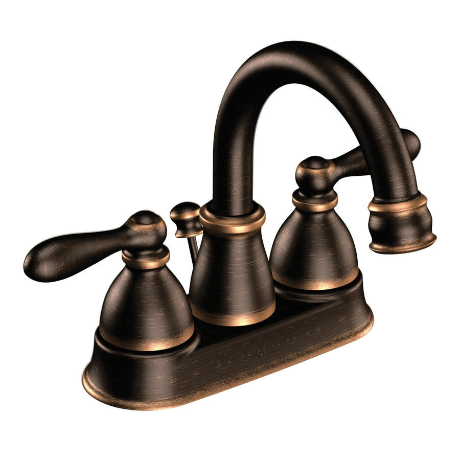 Shop Moen Caldwell Mediterranian Bronze 2-Handle 4-in Centerset ...