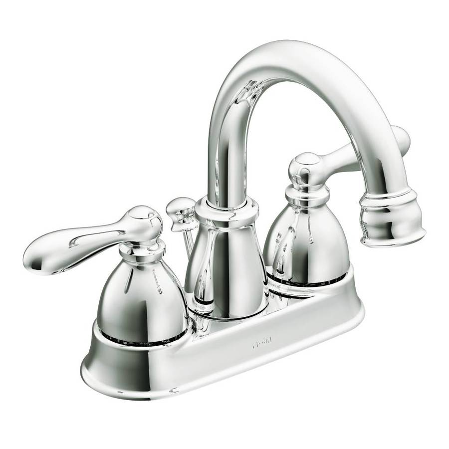 Shop moen caldwell chrome 2 handle 4 in centerset watersense bathroom faucet drain included at - Moen shower faucet ...