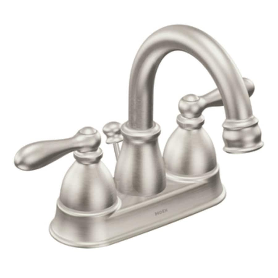 bathroom facuets moen caldwell  handle  in centerset watersense bathroom faucet drain included
