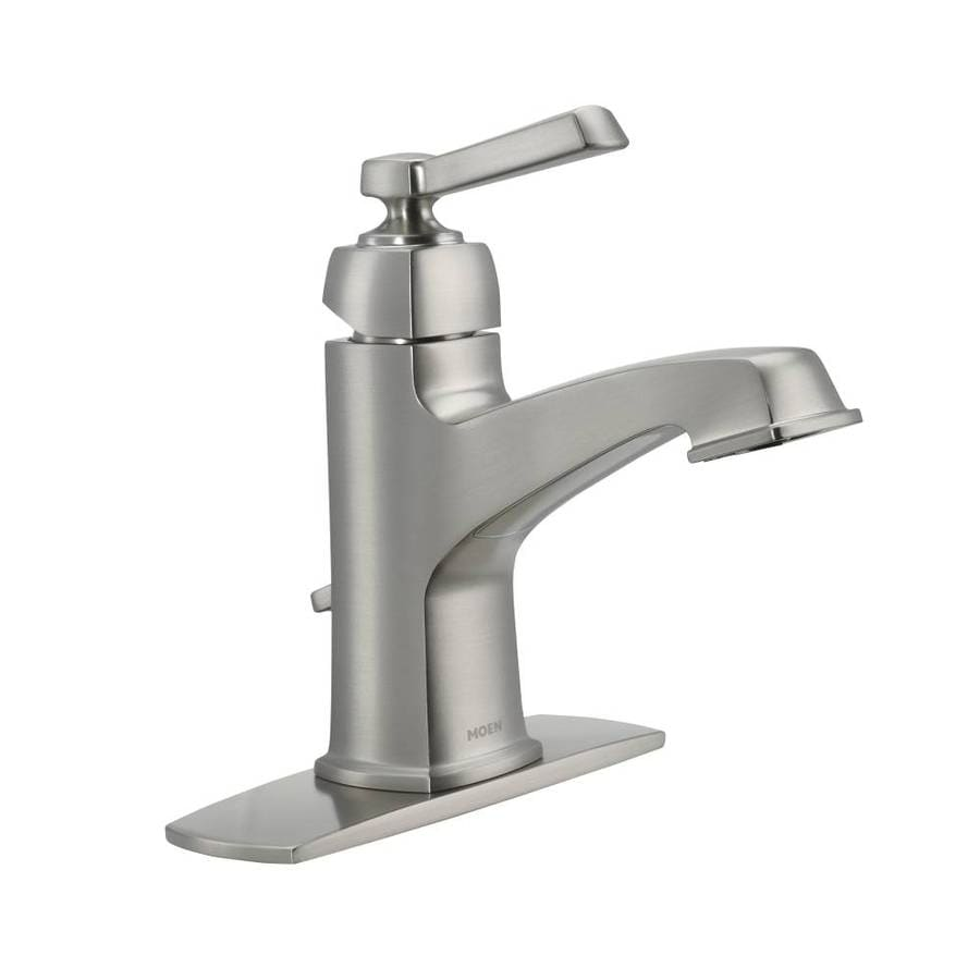 bathroom facuets moen boardwalk spot resist brushed nickel  handle single hole  in centerset