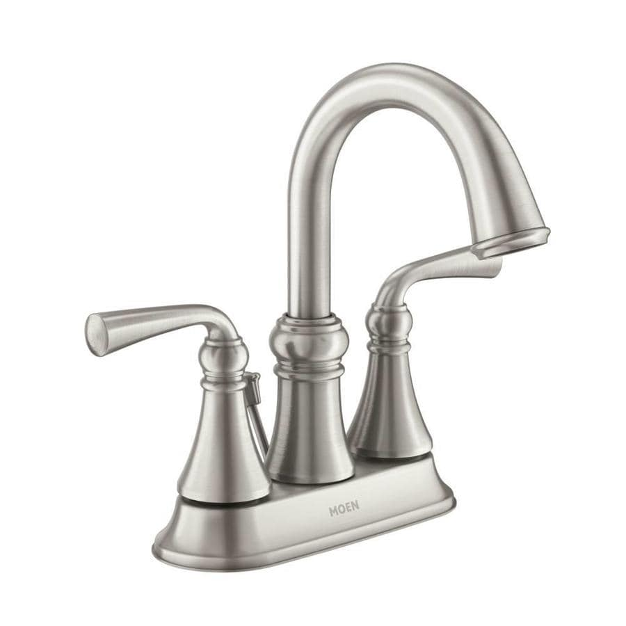 Moen Wetherly Spot Resist Brushed Nickel 2-Handle 4-in Centerset WaterSense Bathroom Faucet (Drain Included)