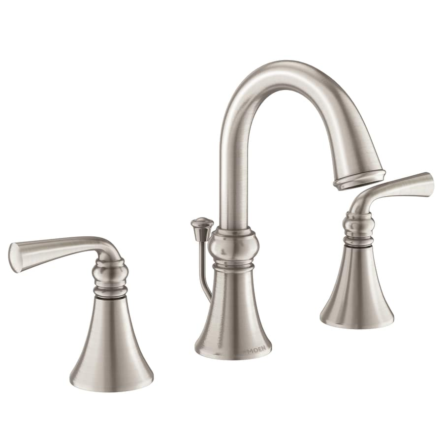 Moen Wetherly Spot Resist Brushed Nickel 2 Handle Widespread Watersense Bathroom Faucet Drain Included