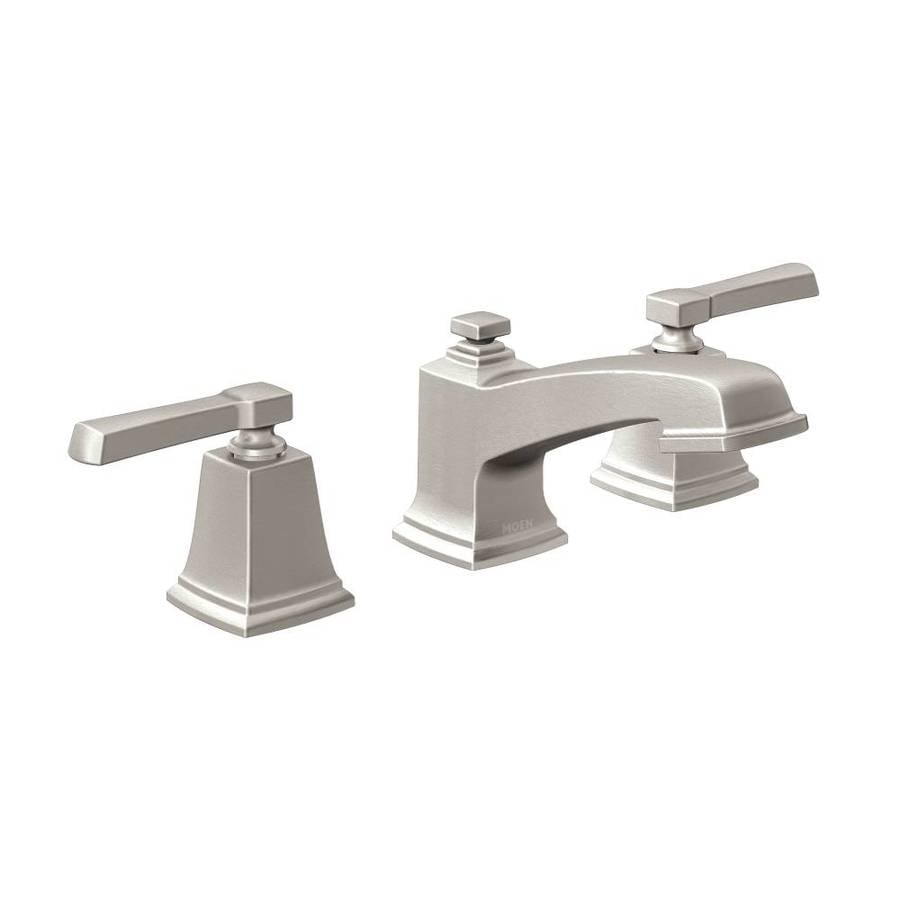 Shop moen boardwalk spot resist brushed nickel 2 handle for Pictures of bathroom faucets