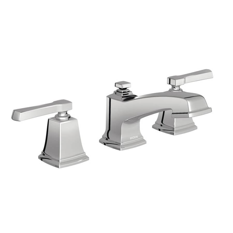 moen boardwalk chrome 2 handle widespread watersense bathroom faucet drain included - Bathroom Faucets Lowes