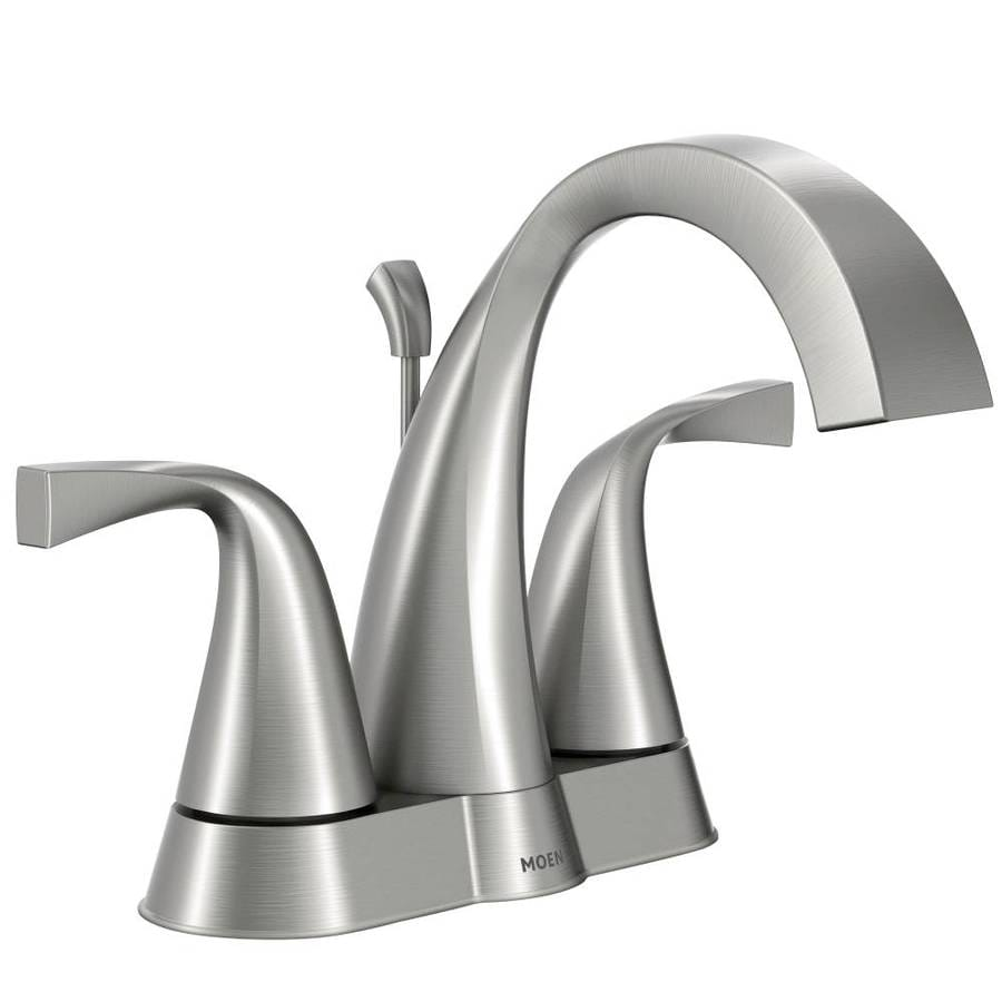 moen oxby spot resist brushed nickel 2 handle 4 in centerset watersense bathroom faucet - Bathroom Faucets Lowes