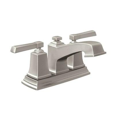 Boardwalk Spot Resist Brushed Nickel 2 Handle 4 In Centerset Watersense Bathroom Sink Faucet With Drain