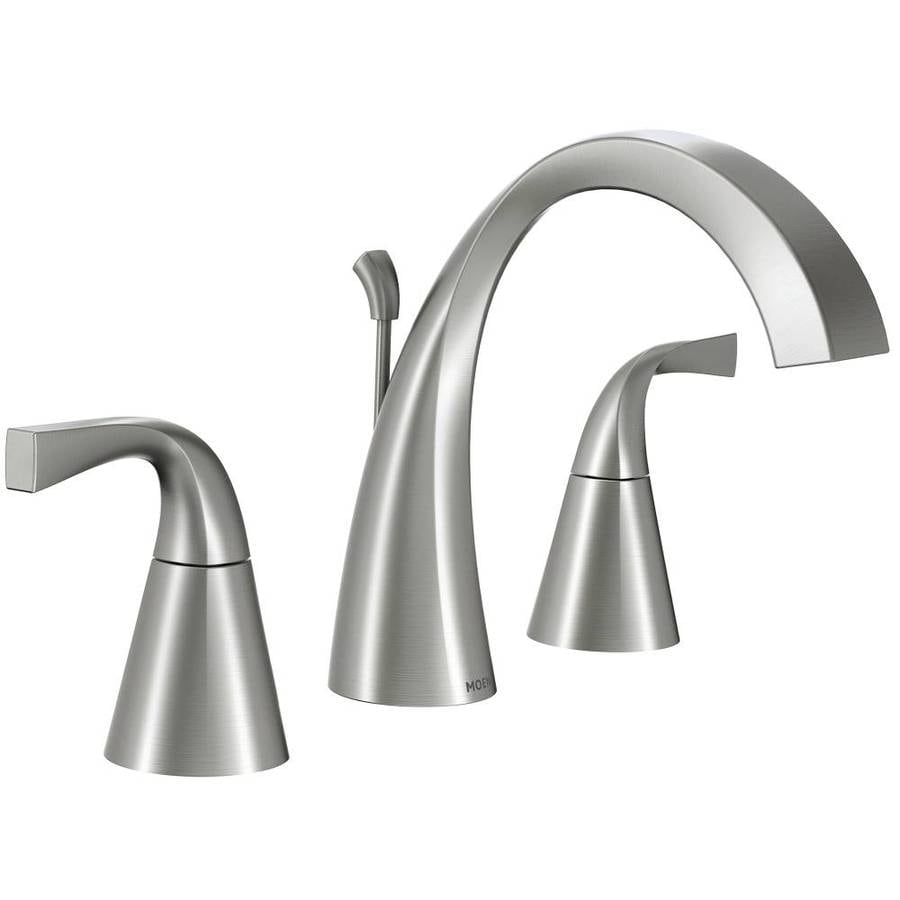 Moen Oxby Spot Resist Brushed Nickel 2 Handle Widespread Bathroom Faucet Drain Included