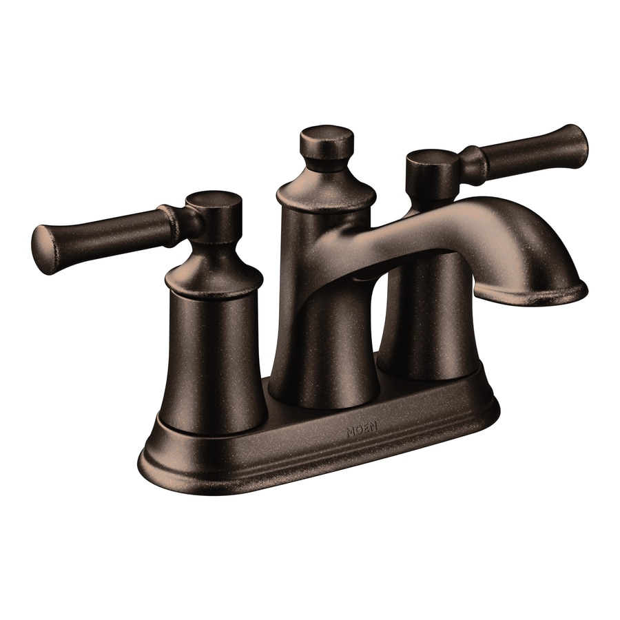 Shop moen dartmoor oil rubbed bronze 2 handle 4 in centerset bathroom sink faucet at for Oil rubbed bronze bathroom faucets