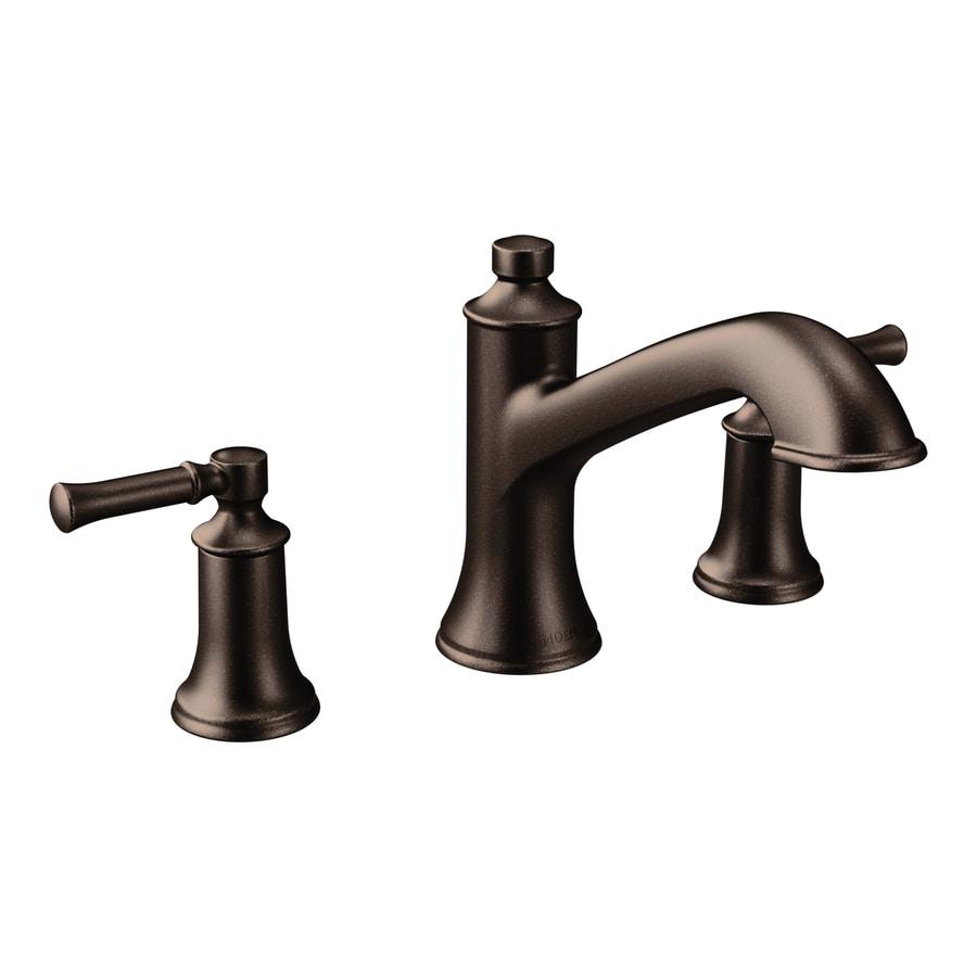 Shop Moen Dartmoor Oil Rubbed Bronze 2 Handle Adjustable Deck Mount Bathtub Faucet At