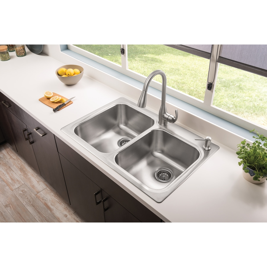 Shop moen kelsa 33 in x 22 in double basin stainless steel for Best kitchen faucet for double sink
