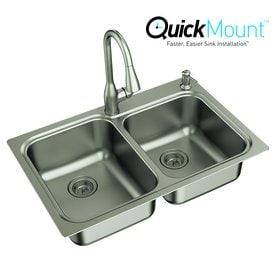 moen kelsa 33 in x 22 in double basin stainless steel drop - Kitchen Sink