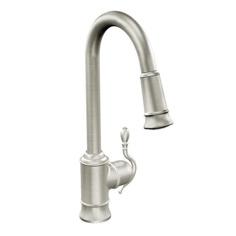 Moen Woodmere Spot Resist Stainless 1-handle Deck Mount High-arc Kitchen Faucet