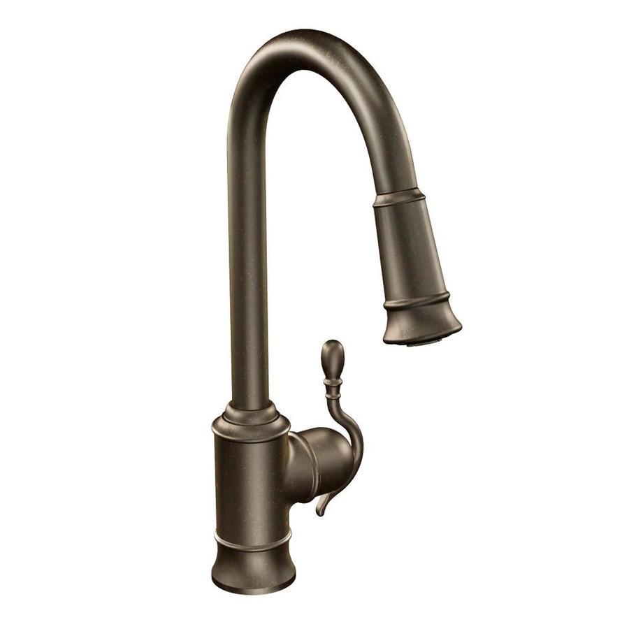 Moen Woodmere Oil Rubbed Bronze 1-handle Deck Mount High-arc Kitchen Faucet