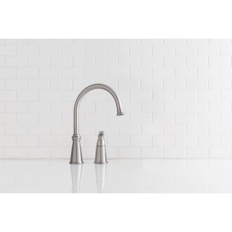Moen Whitmore Stainless 1 Handle Deck Mount High Arc Handle Kitchen Faucet Deck Plate Included In The Kitchen Faucets Department At Lowes Com