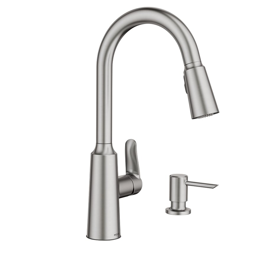 Moen Edwyn Spot Resist Stainless 1 Handle Deck Mount Pull Down Kitchen  Faucet
