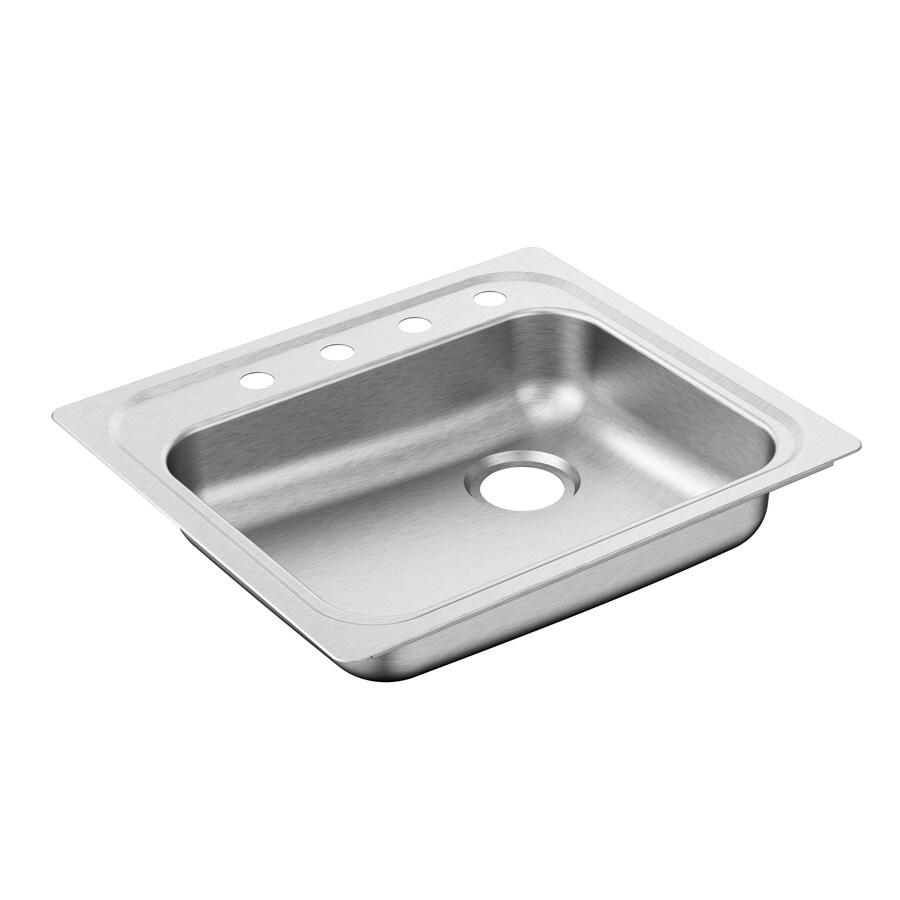 Moen 2000 Series 25-in x 22-in Single-Basin Stainless Steel Drop-in 4-Hole Residential Kitchen Sink