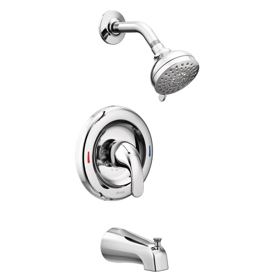 Shop Moen Adler Chrome 1 Handle Bathtub And Shower Faucet With Valve At
